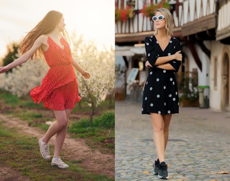 Welche Schuhe zum gepunkteten Kleid? Im Retro-Style ...