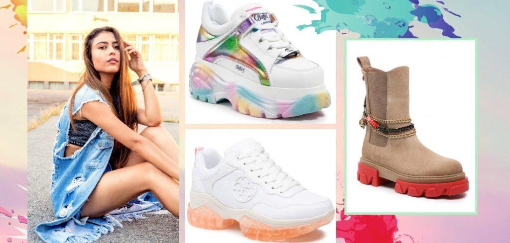 Sneakers und Stiefeletten mit bunter Sohle